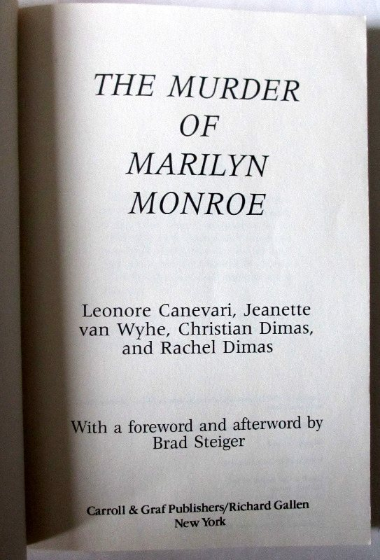 The Murder of Marilyn Monroe, title page.