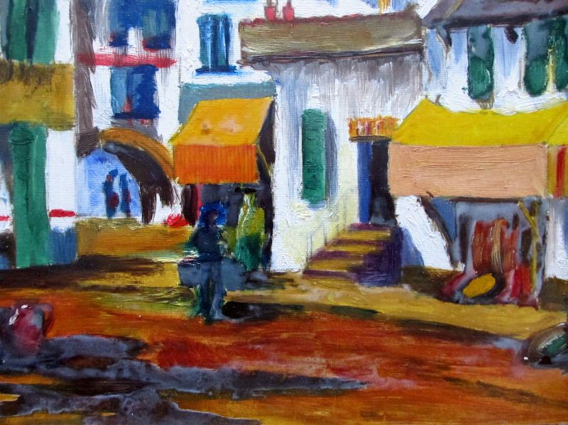 Continental Town Scene, acrylic on paper, unsigned. c1980.