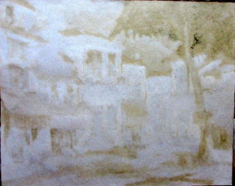 Continental Town Scene. Verso.