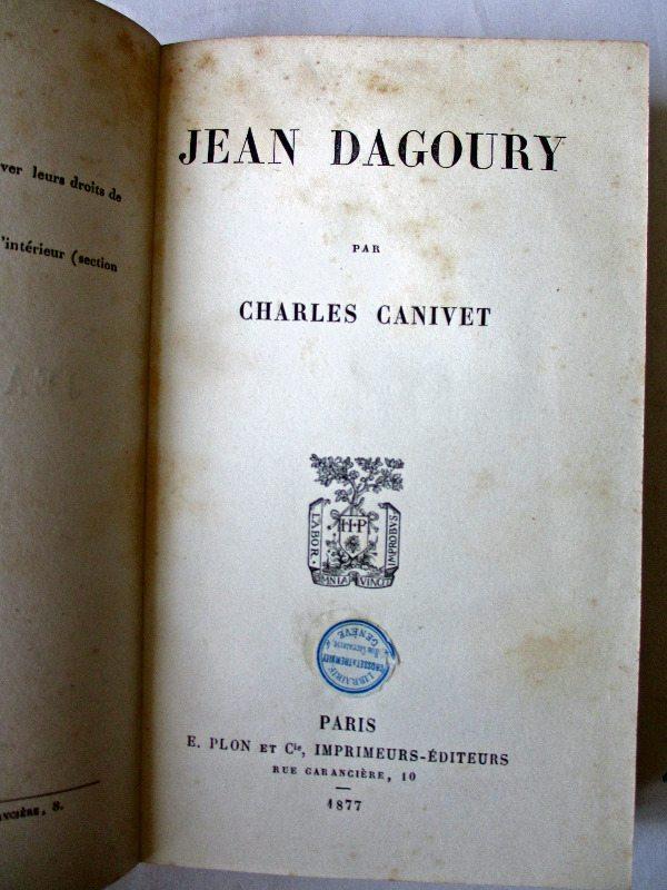 Jean Dagoury par Charles Canivet, 1877. Title page.
