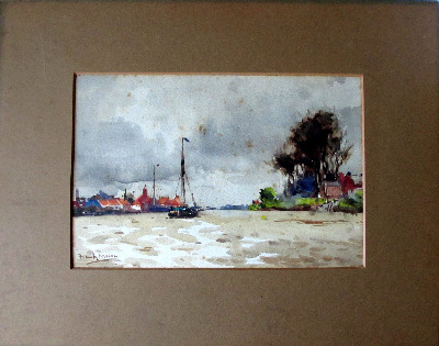 On the Trent near Gainsborough, watercolour on paper, signed Frank Mason, c