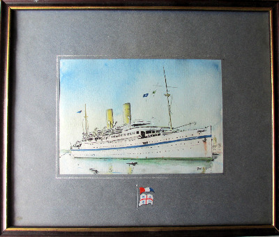H.M.T. Empire Windrush, watercolour on paper, signed G. Kell 53.  SOLD  29.