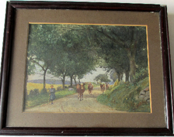 Lady cowherd taking cattle to field, watercolour on paper, c1950.  SOLD.