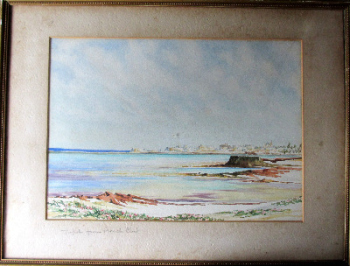 Tripoli from the Beach Club, watercolour on paper, signed obscure (?) Hunt, poss. Esther Anna Hunt. c1950.