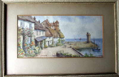 Lynmouth, watercolour on paper, signed W. Sands (aka T.H. Victor). c1950.