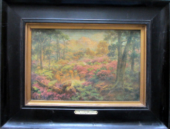 Where Heather Grows, print on canvas of original oil by S. Shelton c1880, framed. c1920.  SOLD  31.03.2019