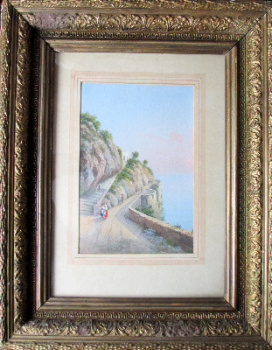 Italian Coastal Scene, Bay of Naples, gouache on paper, signed Riva. c1900.    SOLD.