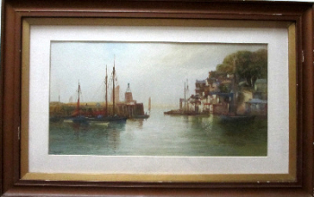 Brixham Harbour, watercolour on paper, signed J. Shapland. c1890.