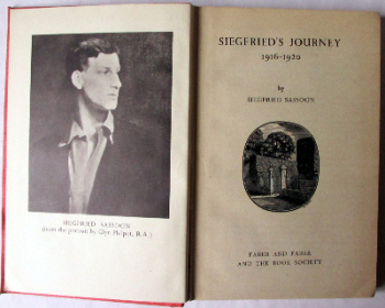 Siegfried's Journey 1916-1920 by Siegfried Sassoon, 1945. First Edition.  SOLD  07.02.2017.