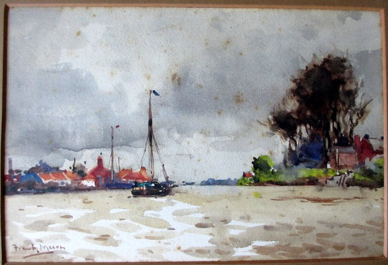 On the Trent near Gainsboro, watercolour, signed Frank Mason, c1920.