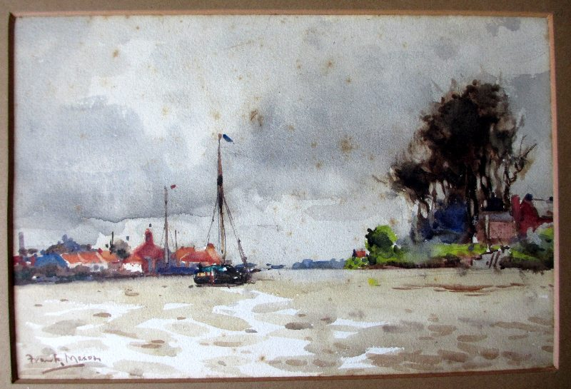 On the Trent, watercolour, signed Frank Mason, c1920.