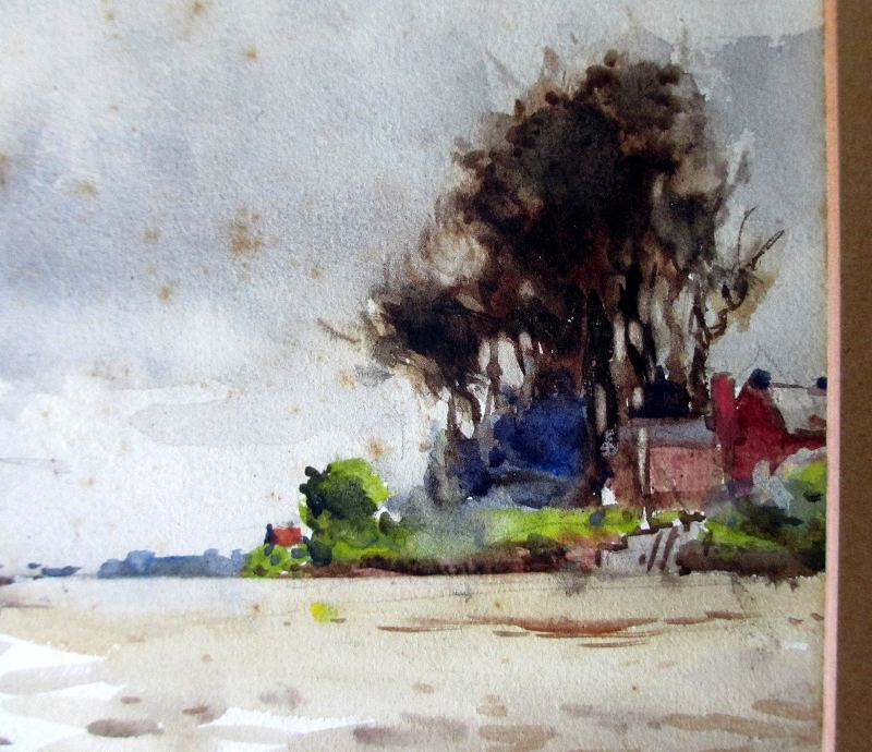 On the Trent, watercolour, signed Frank Mason, c1920. Detail.