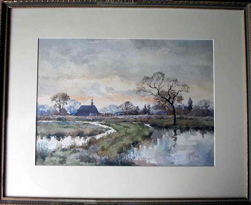 A Lincolnshire Farmhouse, watercolour, signed monogram C.K. dated 41.