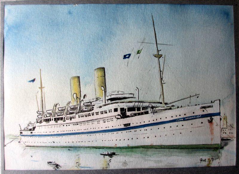 HMT Empire Windrush, signed G. Kell.