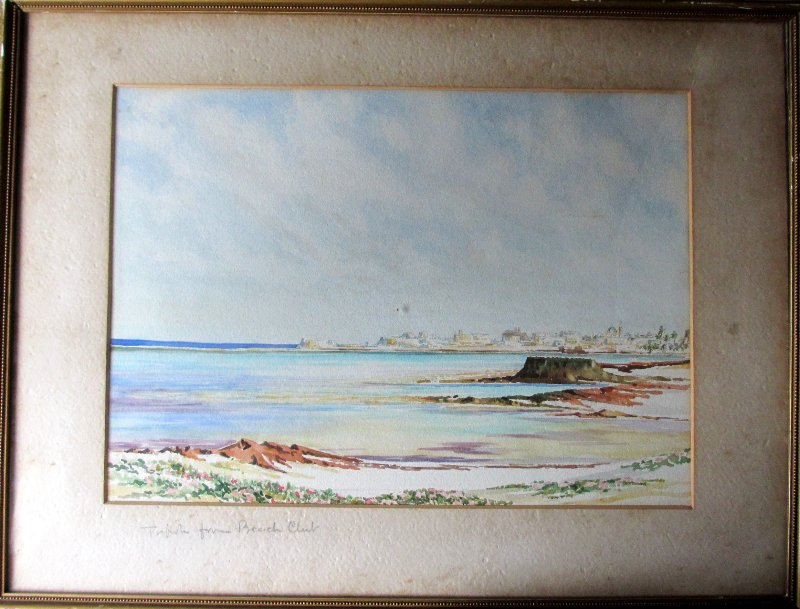 Tripoli from Beach Club, watercolour, signed R(?) Hunt, c1920.