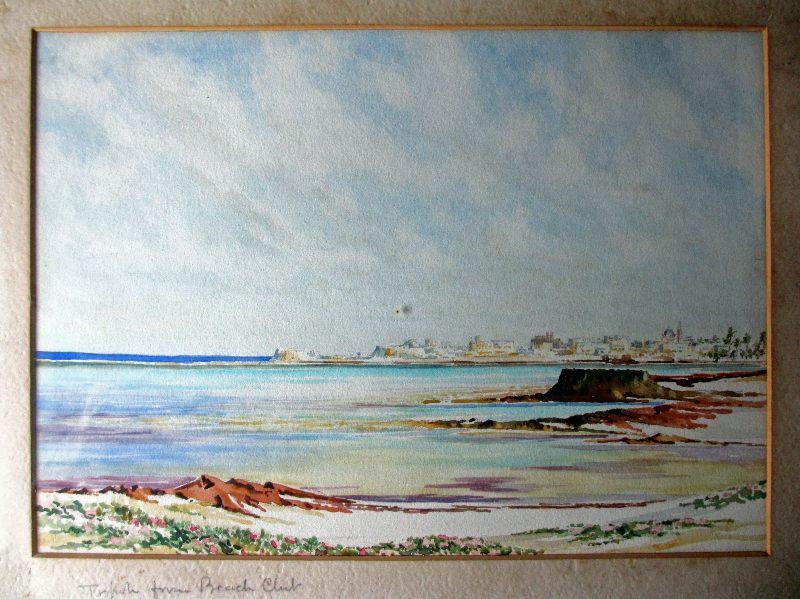 Tripoli from Beach Club, signed R(?) Hunt, c1920.