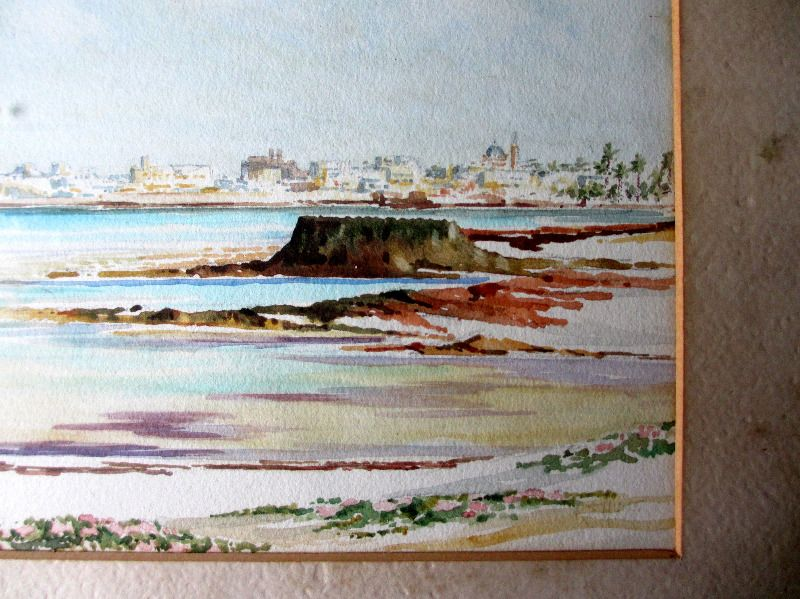 Tripoli from Beach watercolour signed R(?) Hunt. Detail.