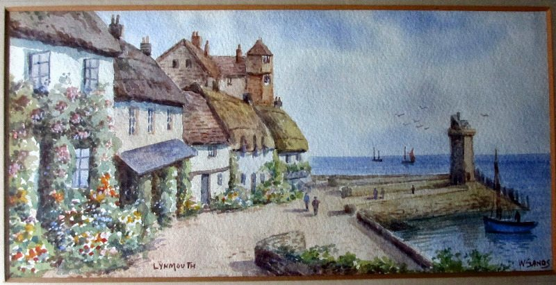 Lynmouth, watercolour, signed W. Sands, c1950.
