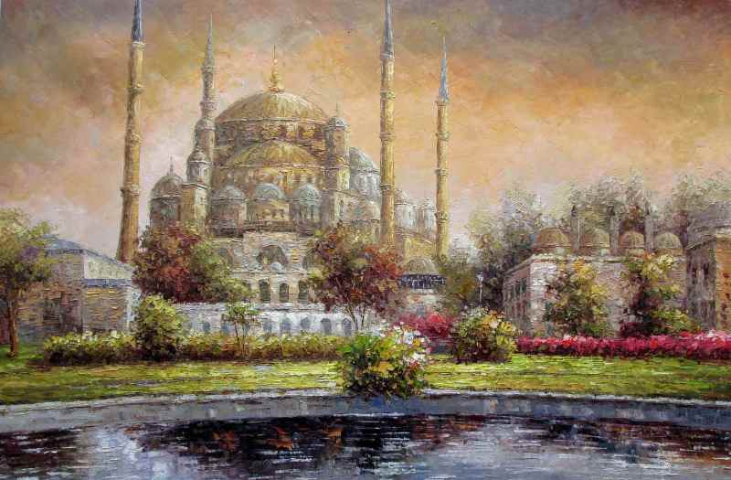 Sultan Ahmed Mosque, Istanbu,l oil on canvas, unsigned. c1990.