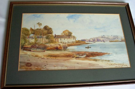 Little Falmouth, watercolour, signed  S.J. Beer (Sidney James Beer 1875-1952). c1920.