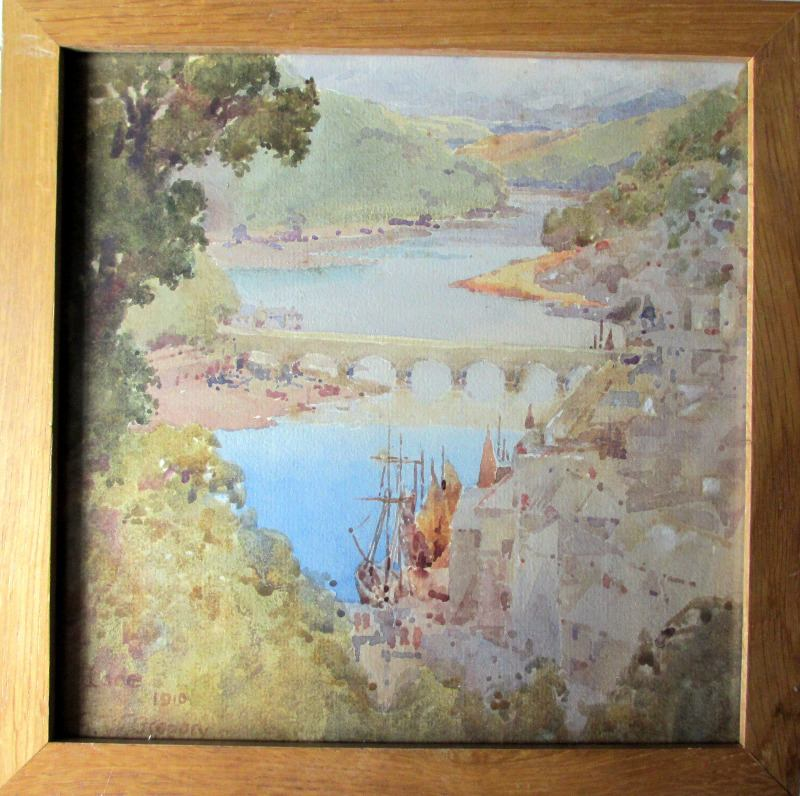 Looe, watercolour, titled, dated and signed E.W. Gregory 1910.
