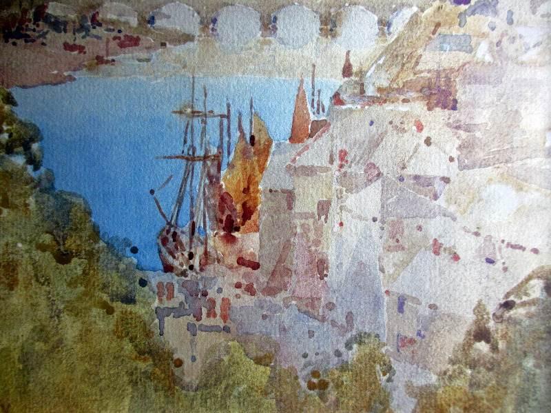 Looe, watercolour, 1910. Detail.