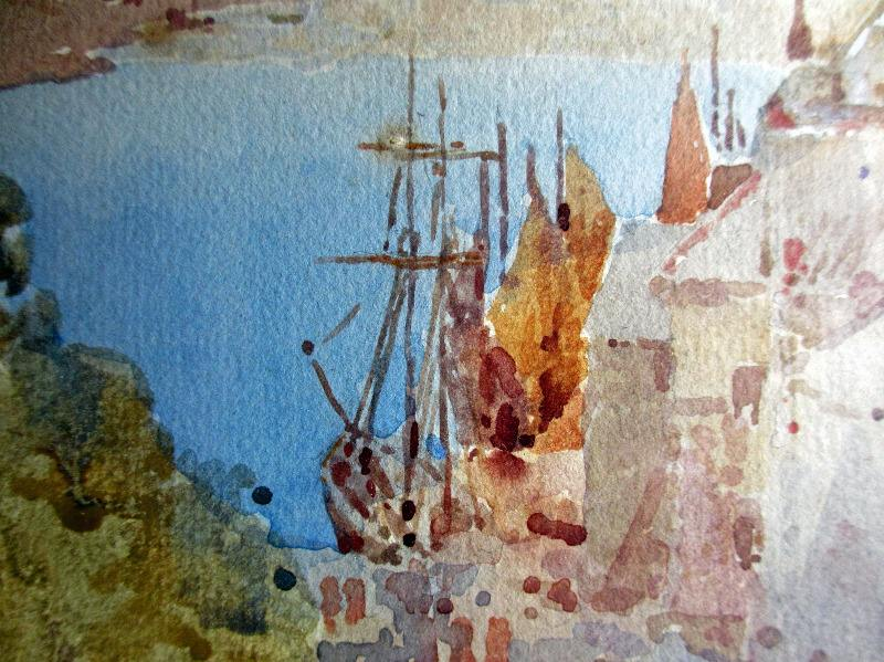 Looe, watercolour, signed E. W. Gregory, 1910. Detail.