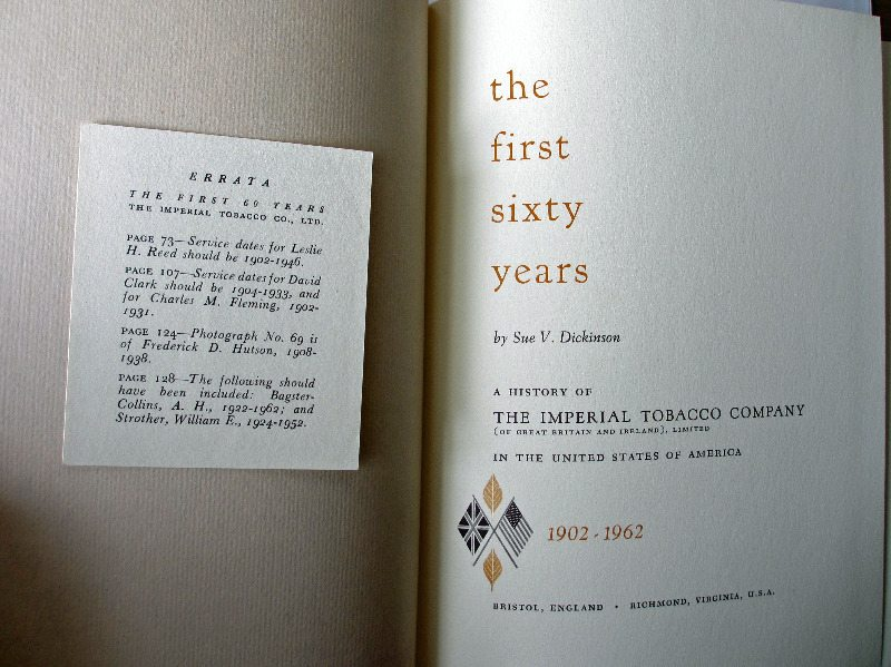 The First Sixty Years, title page with Errata.