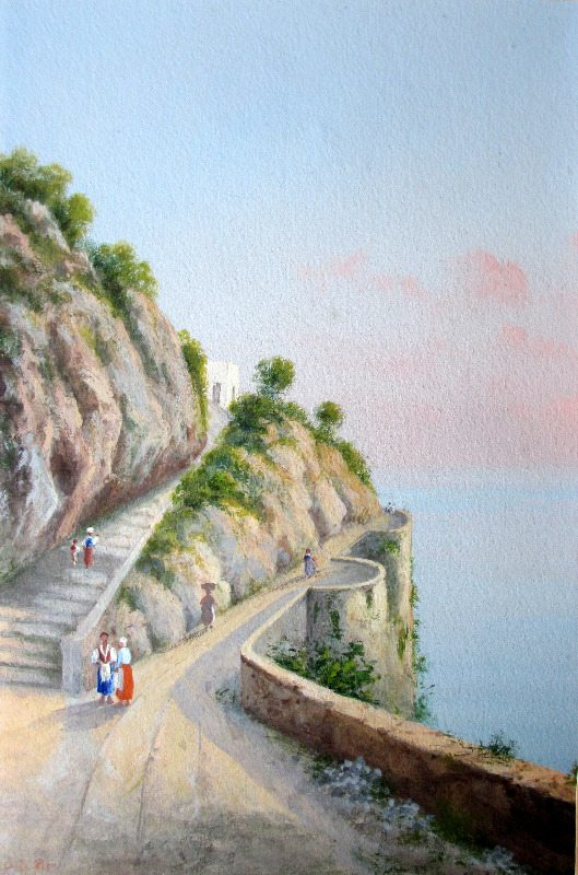 Italian Coastal Scene, Riva. Detail.