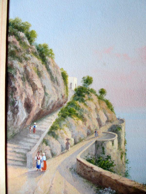 Italian Coastal Scene, signed Riva. Details.