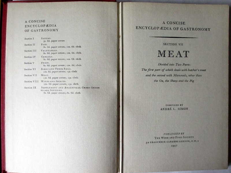 A Concise Encyclopaedia of Gastronomy, Meat, 1947.