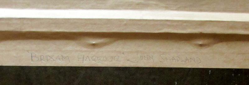 Brixham Harbour. Frame verso, handscript.