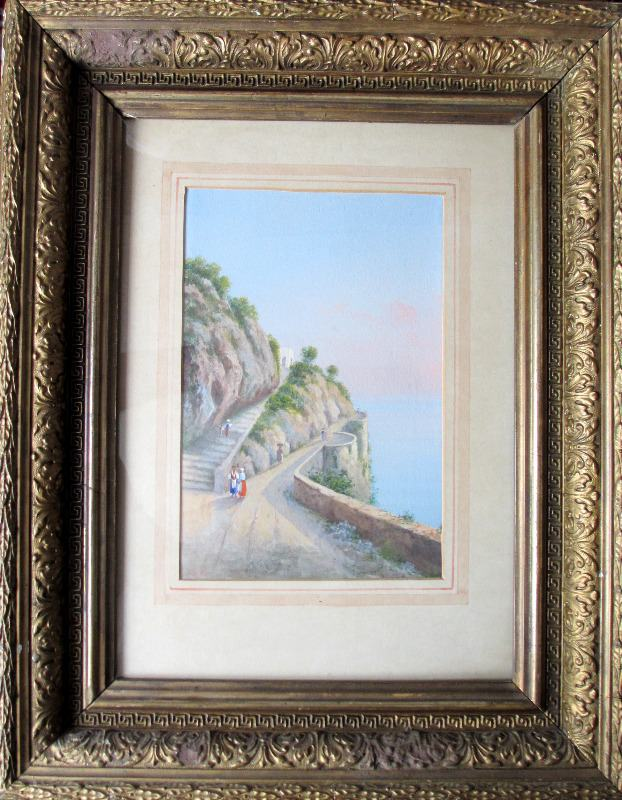 Italian Coastal Scene, Bay of Naples, gouache on paper, signed Riva. c1900.