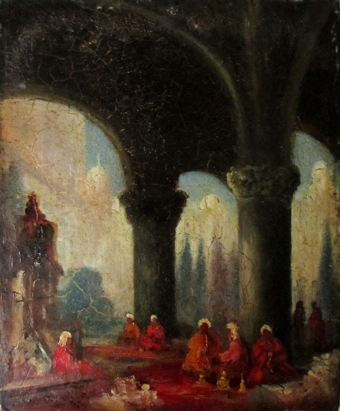 Arabs in Conversation in a Ruined Temple, oil on panel, signed W. Muller, 1843.