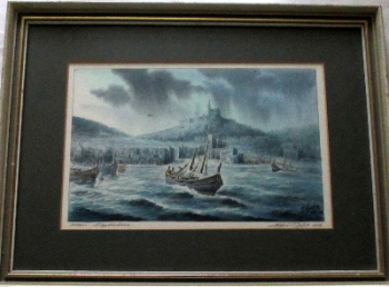 Mgarr, Gozo, Harbour, watercolour on paper, signed Ed. Galea, Malta, 1978.   SOLD  01.02.2014.