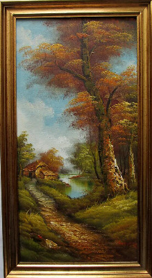 Country Retreat, oil on canvas, signed I. Cafieri. c1970.