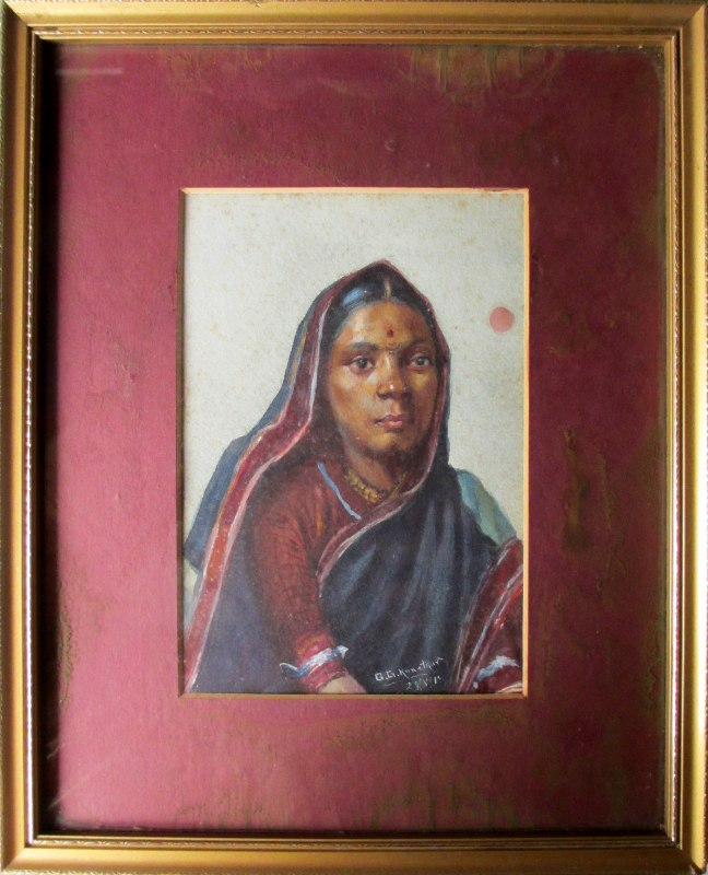 Indian Woman, portrait study, watercolour, signed G.G. Kanetkar, 1918.