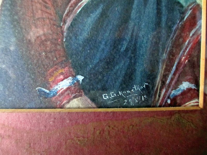 Indian Woman, watercolour, signed GG Kanetkar, 1918. Signature, detail.