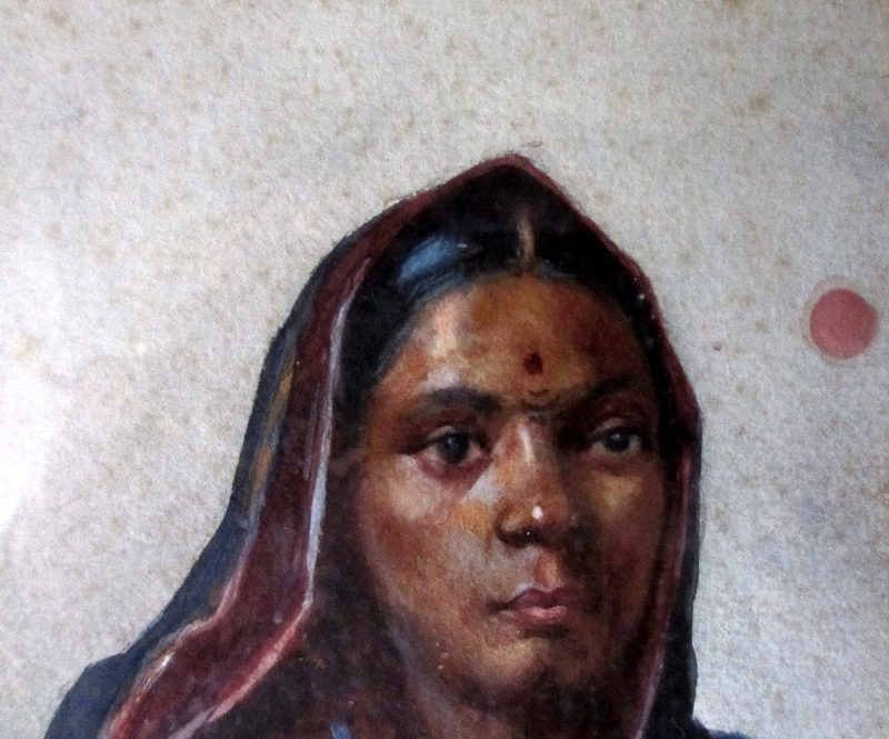 Indian Woman, portrait study, signed GG Kanetkar, 1918. Detail.