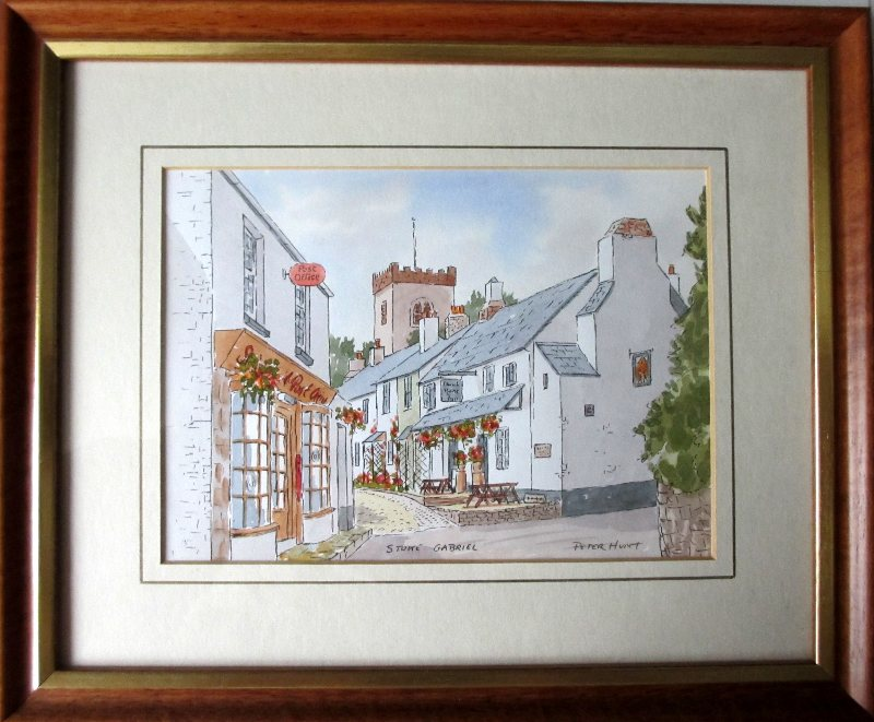 Stoke Gabriel, watercolour, signed Peter Hunt, c1990.