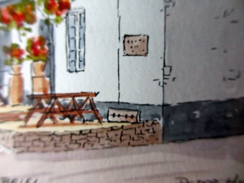 Stoke Gabriel, signed Peter Hunt. Detail, the stocks.
