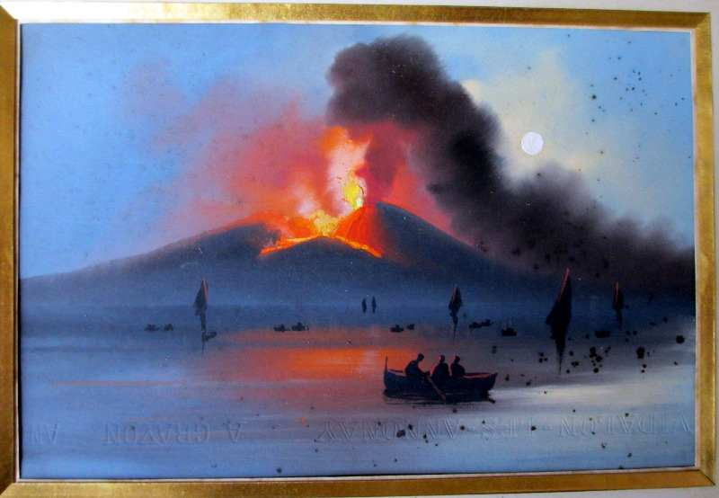 Vesuvius Eruption, 1906, Neapolitan School, gouache on paper, unsigned. c1906.