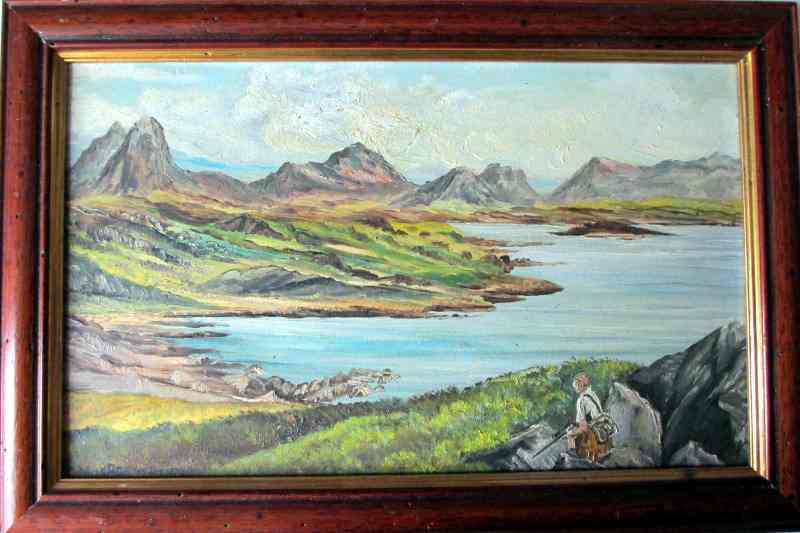 Above the Bay of Stoer, near Lochinver, oil on board, signed Colin MacRae, Jan. 2nd 1979.