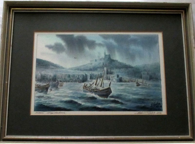 Mgarr, Gozo, Harbour, watercolour, signed Ed Galea 1978.