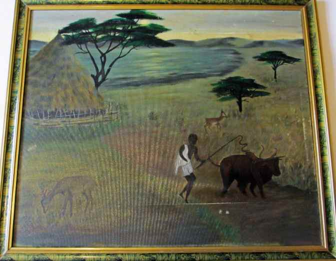 Taking Bullock to Field, oil on canvas, signed A. Ortega, 1972.