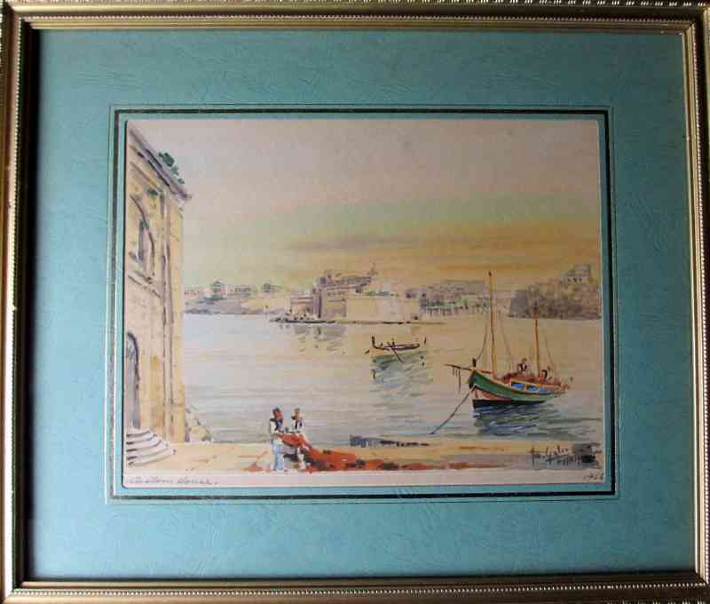 Custom House, Valletta, with Sandy Sky, signed Jos. Galea, 1955.