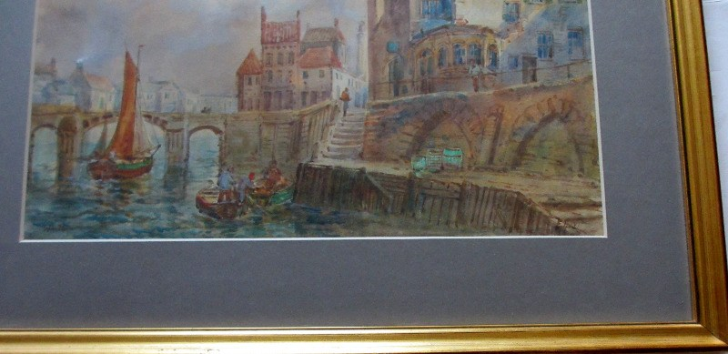 Whitby Harbour, signed E. Nevil.