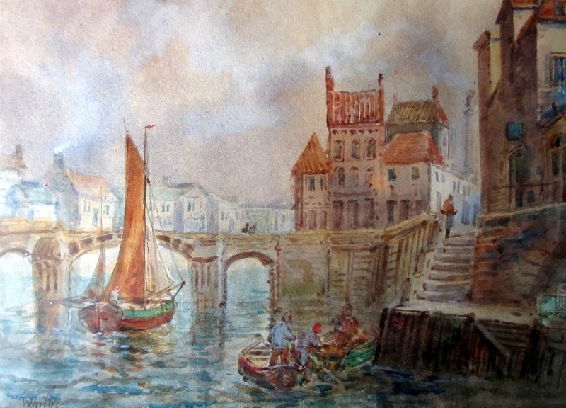 Whitby Harbour, signed E. Nevil. Detail.