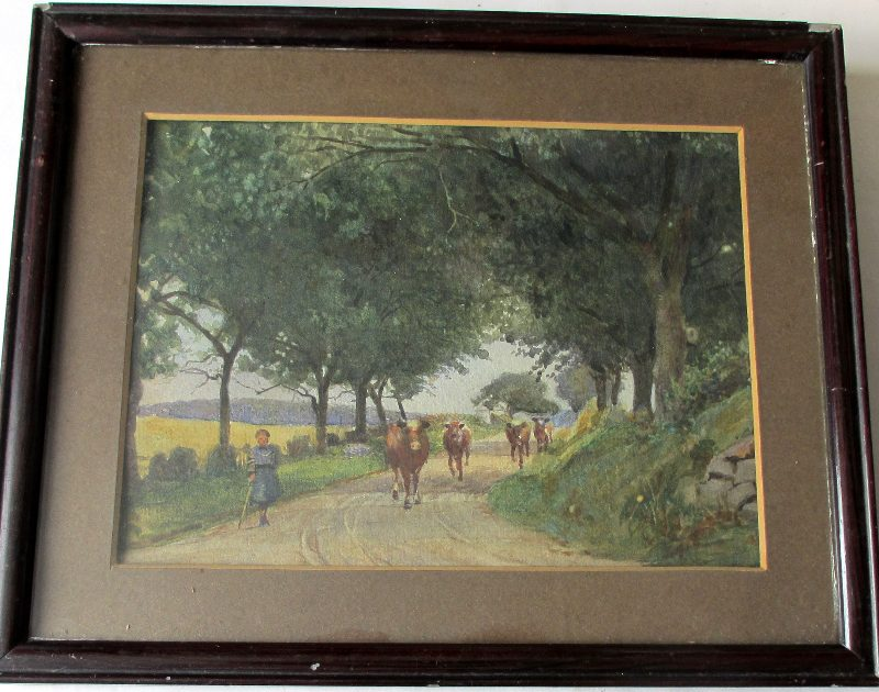 Lady Cowherd Taking Cattle to Field, watercolour on paper, sketch verso, c1950.
