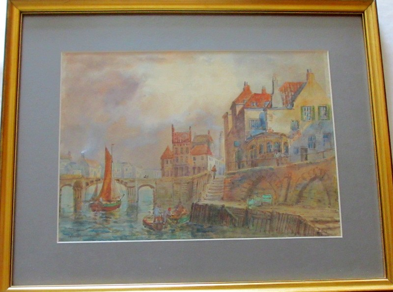 Whitby Harbour, watercolour and gouache on paper, signed E. Nevil. c1880.